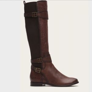 Frye Anna Gore Tall Riding Boots Brown